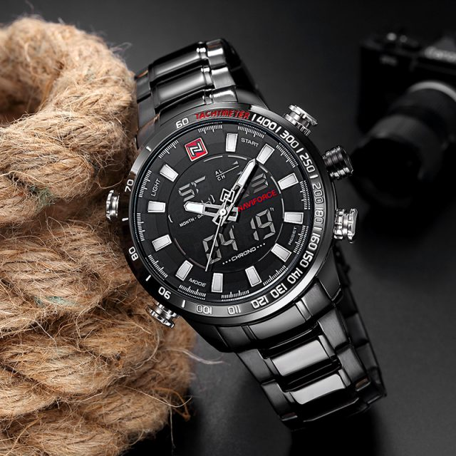 NAVIFORCE Luxury Brand Men Military Sport Watches Extreme Men's Digital Quartz Clock Full Steel Waterproof Wrist Watch
